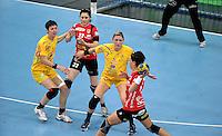 EHF Champions League Handball Damen / Frauen / Women - HC Leipzig HCL : SD Itxako Estella (spain) - Arena Leipzig - Gruppenphase Champions League - im Bild: Anne Müller und Natalie Augsburg in der Abwehr. Foto: Norman Rembarz .