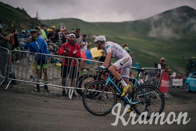 white jersey / best young rider Pierre Latour (FRA/AG2R-LaMondiale) up the brutal Col du Portet (HC/2250m/16km at 8.7%/Souvenir Henri Desgrange) in this historically short stage (only 65km)<br /> <br /> Stage 17: Bagnères-de-Luchon > Saint-Lary-Soulan (65km)<br /> <br /> 105th Tour de France 2018<br /> ©kramon