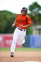 GCL Orioles pinch runner Gui Yuan Xu (21) running the bases during a game against the GCL Twins on August 11, 2016 at the Ed Smith Stadium in Sarasota, Florida.  GCL Twins defeated GCL Orioles 4-3.  (Mike Janes/Four Seam Images)
