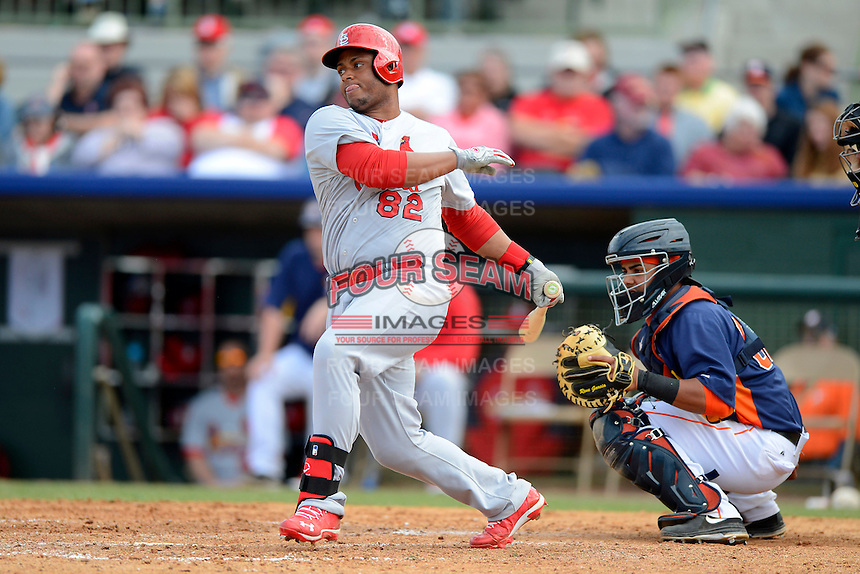 St. Louis Cardinals catcher Audry Perez #82 at bat in front of catcher Rene Garcia #69 during a Spring Training game against the Houston Astros at Osceola County Stadium on March 1, 2013 in Kissimmee, Florida.  The game ended in a tie at 8-8.  (Mike Janes/Four Seam Images)