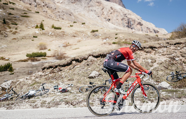 Eugenio Alafaci (ITA/Trek-Segafredo) looking back up the Passo Pordoi (2239m)<br /> <br /> Stage 18: Moena &rsaquo; Ortisei/St. Urlich (137km)<br /> 100th Giro d'Italia 2017