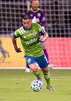 10th July 2020, Orlando, Florida, USA;  Seattle Sounders midfielder Cristian Roldan (7) looks to pass the ball During the MLS Is Back Tournament between the Seattle Sounders v San Jose Earthquakes on July 10, 2020 at the ESPN Wide World of Sports, Lake Buena Vista FL.
