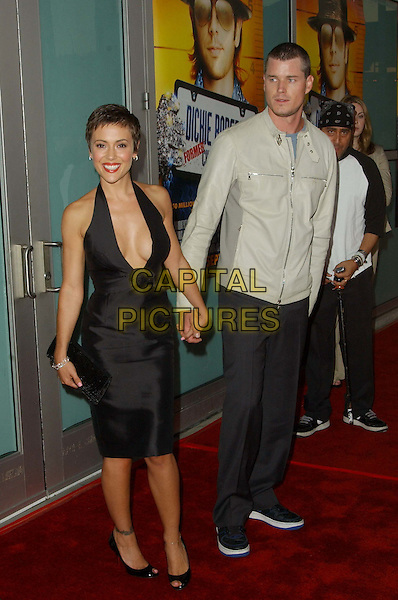 ALYSSA MILANO & Boyfriend.attends Paramount Picture's L.A Premiere of 'Dickie Roberts: Former Child Star' held at the Arclight Cinerama Dome in Hollywood.                .www.capitalpictures.com.sales@capitalpictures.com.©Capital Pictures.black halterneck dress, plunging neckline, cleavage, peep-toe shoes...full length, full-length
