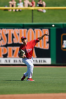 Philadelphia Phillies center fielder Adam Haseley (75) throws from the outfield during a Grapefruit League Spring Training game against the Baltimore Orioles on February 28, 2019 at Spectrum Field in Clearwater, Florida.  Orioles tied the Phillies 5-5.  (Mike Janes/Four Seam Images)