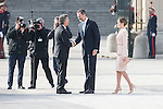President of Argentinian Republic Mauricio Macri, King Felipe VI of Spain and Queen Letizia arrives to the Real Palace during state visit of the president of Argentinian Republic, Sr. Mauricio Macri and Sra Juliana Awada at Real Palace in Madrid, Spain. February 19, 2017. (ALTERPHOTOS/BorjaB.Hojas)