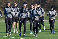 (FRONT L-R) Oliver McBurnie and George Byers in action during the Swansea City Training at the Fairwood Training Ground, Swansea, Wales, UK. Thursday 22 November 2018