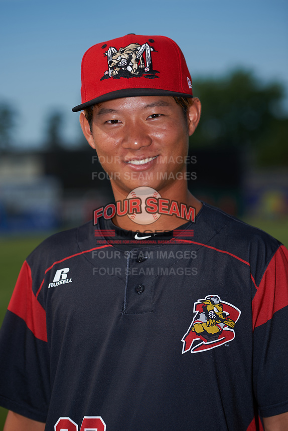 Batavia Muckdogs Shao-Pin Ho (26) poses for a photo before a game against the Auburn Doubledays on July 6, 2017 at Dwyer Stadium in Batavia, New York.  Auburn defeated Batavia 4-3.  (Mike Janes/Four Seam Images)