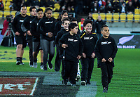 The 12 kids given free tickets by NZ Rugby competition prizewinner Dave Newman for the Steinlager Series international rugby match between the New Zealand All Blacks and France at Westpac Stadium in Wellington, New Zealand on Saturday, 16 June 2018. Photo: Dave Lintott / lintottphoto.co.nz