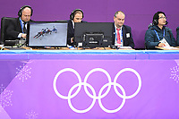 OLYMPIC GAMES: PYEONGCHANG: 20-02-2018, Gangneung Ice Arena, Short Track, Heats 500m Men, Balazs Koever (HUN | Assistent Referee Video Men), Gialt Biesma (NED | Assistent Referee Video Ladies), ©photo Martin de Jong