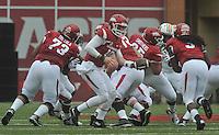 NWA Democrat-Gazette/MICHAEL WOODS • @NWAMICHAELW<br /> University of Arkansas quarterback Brandon Allen looks to handoff the ball during Saturdays game October, 24, 2015 against Auburn at Razorback Stadium in Fayetteville.