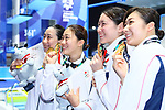 Japan team group (JPN), <br /> AUGUST 19, 2018 - Swimming : <br /> Women's 4x100m Freestyle Relay Medal Ceremony <br /> at Gelora Bung Karno Aquatic Center <br /> during the 2018 Jakarta Palembang Asian Games <br /> in Jakarta, Indonesia. <br /> (Photo by Naoki Nishimura/AFLO SPORT)