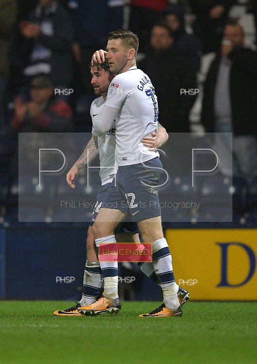 10/04/2018 Sky Bet League Championship Preston North End v Leeds United<br /> <br /> Paul Gallagher celebrates with second goalscorer Sean Maguire