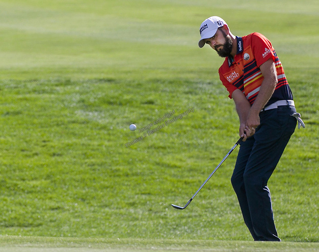 Troy Merritt chips onto the 18th green during the Barracuda Championship PGA golf tournament at Montrêux Golf and Country Club in Reno, Nevada on Sunday, July 28, 2019.