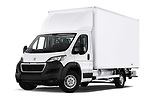 Stock pictures of low aggressive front three quarter view of 2019 Peugeot Boxer - 2 Door Parcel Van Low Aggressive