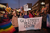 Doctors and patients from Gill Street Health Centre protest against cuts at Barts and the London NHS Trust, Royal London Hospital, Whitechapel.