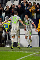 30th October 2019; Allianz Stadium, Turin, Italy; Serie A Football, Juventus versus Genoa; Cristiano Ronaldo of Juventus celebrates after scoring the winning goal in the 95th minute - Editorial Use