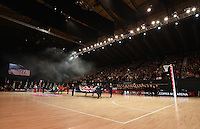 05.02.2017 Silver Ferns stand for National Anthems during the Silver Ferns v Proteas netball test match played at Wembley Arena  in London, England. Mandatory Photo Credit ©Joe Toth/Michael Bradley Photography