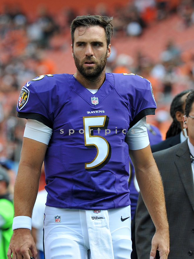 CLEVELAND, OH - JULY 18, 2016: Quarterback Joe Flacco #5 of the Baltimore Ravens walks off the field prior to a game against the Cleveland Browns on July 18, 2016 at FirstEnergy Stadium in Cleveland, Ohio. Baltimore won 25-20. (Photo by: 2017 Nick Cammett/Diamond Images)  *** Local Caption *** Joe Flacco(SPORTPICS)