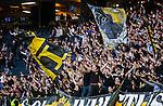 Stockholm 2015-07-30 Fotboll Kval Uefa Europa League  AIK - Atromitos FC :  <br /> AIK:s supportrar med flaggor  under matchen mellan AIK och Atromitos FC <br /> (Foto: Kenta J&ouml;nsson) Nyckelord:  AIK Gnaget Tele2 Arena UEFA Europa League Kval Kvalmatch Atromitos FC Grekland Greece supporter fans publik supporters