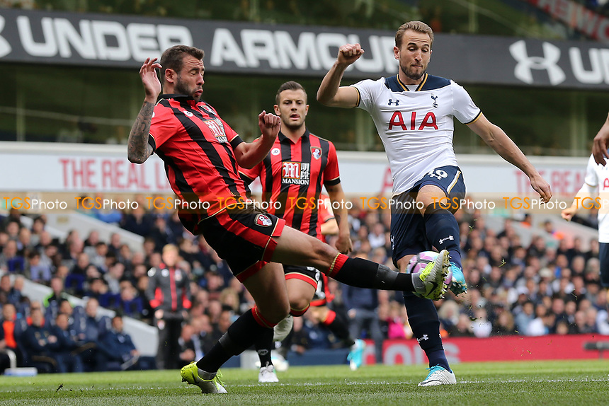 Harry Kane of Tottenham Hotspur sees his shot blocked by Simon Francis of Bournemouth during Tottenham Hotspur vs AFC Bournemouth, Premier League Football at White Hart Lane on 15th April 2017
