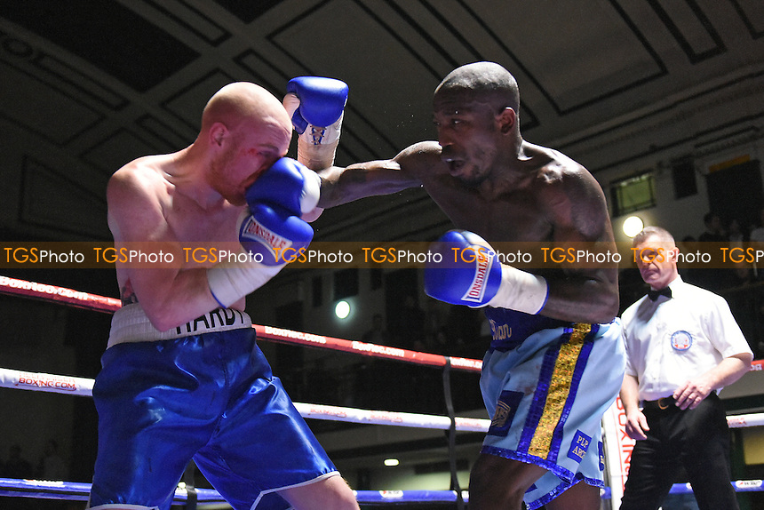 Kian Thomas (light blue shorts) defeats Ryan Hardy during a Boxing Show at York Hall on 18th February 2017
