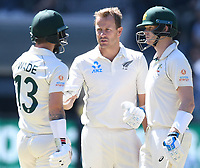 26th December 2019; Melbourne Cricket Ground, Melbourne, Victoria, Australia; International Test Cricket, Australia versus New Zealand, Test 2, Day 1; Neil Wagner of New Zealand checks on Matthew Wade of Australia after striking his head - Editorial Use