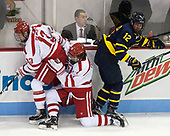 Nikolas Olsson (BU - 13), Patrick Curry (BU - 11), Ludvig Larsson (Merrimack - 12) - The visiting Merrimack College Warriors defeated the Boston University Terriers 4-1 to complete a regular season sweep on Friday, January 27, 2017, at Agganis Arena in Boston, Massachusetts.The visiting Merrimack College Warriors defeated the Boston University Terriers 4-1 to complete a regular season sweep on Friday, January 27, 2017, at Agganis Arena in Boston, Massachusetts.