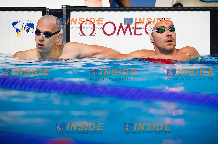Laszlo Cseh UHN and Jeremy Stravius FRA<br /> Men's 100m backstroke heats<br /> Swimming<br /> 15th FINA World Aquatics Championships<br /> Barcelona 19 July - 4 August 2013<br /> Palau Sant Jordi, Barcelona (Spain) 29/07/2013 <br /> &copy; Giorgio Perottino / Deepbluemedia.eu / Insidefoto
