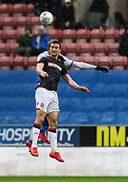 Bolton Wanderers' Jack Hobbs competing with Wigan Athletic's Leon Clarke <br /> <br /> Photographer Andrew Kearns/CameraSport<br /> <br /> The EFL Sky Bet Championship - Wigan Athletic v Bolton Wanderers - Saturday 16th March 2019 - DW Stadium - Wigan<br /> <br /> World Copyright &copy; 2019 CameraSport. All rights reserved. 43 Linden Ave. Countesthorpe. Leicester. England. LE8 5PG - Tel: +44 (0) 116 277 4147 - admin@camerasport.com - www.camerasport.com