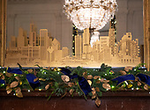 """The 2018 White House Christmas decorations, with the theme """"American Treasures"""" which were personally selected by first lady Melania Trump, are previewed for the press in Washington, DC on Monday, November 26, 2018.  This is a cityscape of Chicago, Illinois on one of the mantels in the East Room.<br /> Credit: Ron Sachs / CNP"""