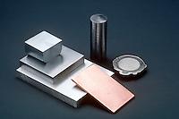 COMMON METALS<br /> Metal Elements<br /> Clockwise from left: zinc (Zn), titanium (Ti), nickel (Ni), Copper (Cu), Aluminum (Al), Iron (Fe)
