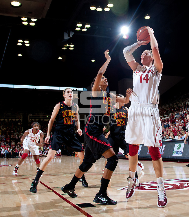 STANFORD, CA - January 22, 2011: Kayla Pedersen of the Stanford women's basketball team during their game against USC at Maples Pavilion. Stanford beat USC 95-51.