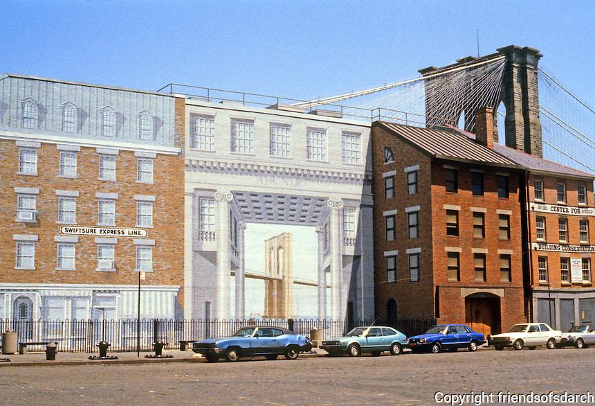 New York: Richard Haas Mural of South Street & Peck Slip, south of Brooklyn Bridge. Photo '85.
