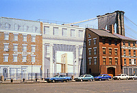 New York: Richard Haas Mural of South Street & Peck Slip, south of Brooklyn Bridge. Photo '85.