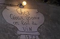 Europe/Italie/Val d'Aoste/Arnad: Chez César Bonin, viticulteur- l'enseigne à l'entrée de la cave