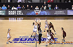 SIOUX FALLS, SD: MARCH 7: Western Illinois and IUPUI tip off for the Women's Summit League Basketball Championship Game on March 7, 2017 at the Denny Sanford Premier Center in Sioux Falls, SD. (Photo by Dick Carlson/Inertia)