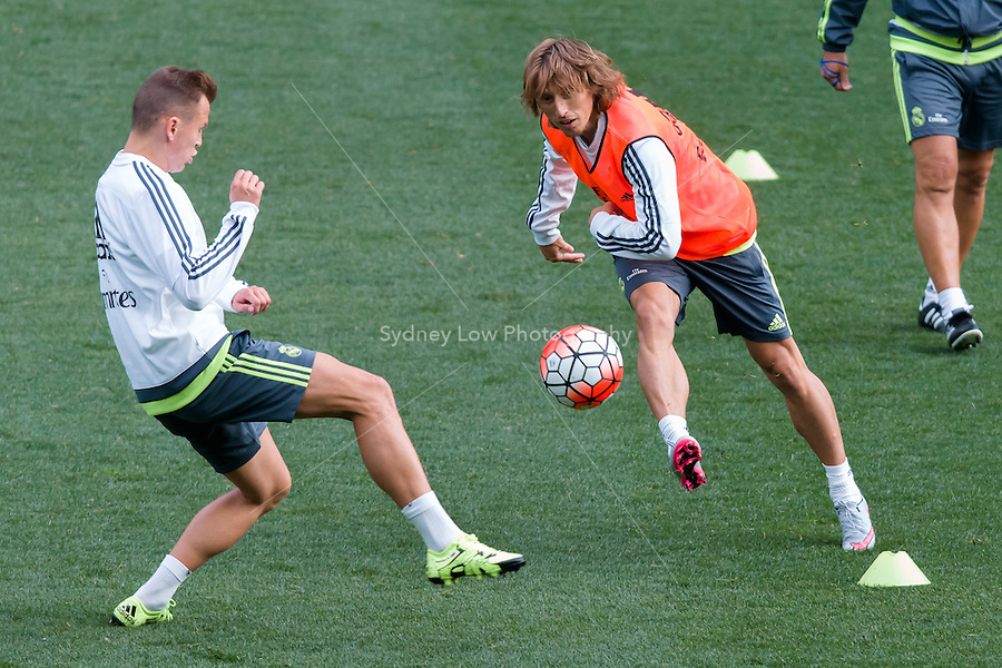 Melbourne, 14 July 2015 - Luka Modric at an open training session of Real Madrid before their match against AS Roma at the 2015 International Champions Cup in Melbourne, Australia. Photo Sydney Low/AsteriskImages.com