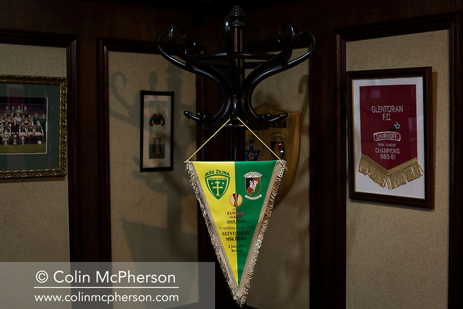 An commemorative pennant on display in the boardroom at The Oval, Belfast, pictured before Glentoran hosted city-rivals Cliftonville in an NIFL Premiership match. Glentoran, formed in 1892, have been based at The Oval since their formation and are historically one of Northern Ireland's 'big two' football clubs. They had an unprecendentally bad start to the 2016-17 league campaign, but came from behind to win this fixture 2-1, watched by a crowd of 1872.