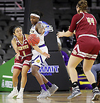SIOUX FALLS, SD: MARCH 4: Briana Johnson #1 of Denver passes to teammate Lena DePriest #44 while defended by Jasmine Patrick #21 of Western Illinois on March 4, 2017 during the Summit League Basketball Championship at the Denny Sanford Premier Center in Sioux Falls, SD. (Photo by Dick Carlson/Inertia)
