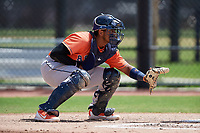 Houston Astros catcher Nerio Rodriguez (75) during a Minor League Spring Training Intrasquad game on March 28, 2019 at the FITTEAM Ballpark of the Palm Beaches in West Palm Beach, Florida.  (Mike Janes/Four Seam Images)