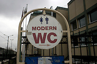 Sign for a modern WC in Istanbul, Turkey