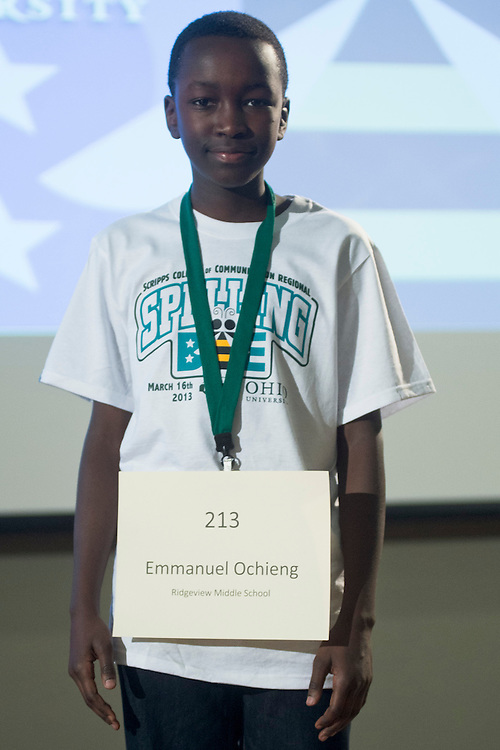 Emmanuel Ochieng of Ridgeview Middle School introduces himself during the Columbus Metro Regional Spelling Bee Regional Saturday, March 16, 2013. The Regional Spelling Bee was sponsored by Ohio University's Scripps College of Communication and held in Margaret M. Walter Hall on OU's main campus.