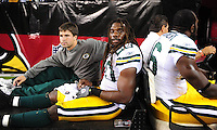 Aug. 28, 2009; Glendale, AZ, USA; Green Bay Packers safety Atari Bigby is carted off the field after suffering an injury against the Arizona Cardinals during a preseason game at University of Phoenix Stadium. Mandatory Credit: Mark J. Rebilas-
