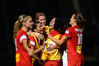 Western New York Flash players celebrate at the final whistle. The Western New York Flash defeated Sky Blue FC 2-0 during a National Women's Soccer League (NWSL) semifinal match at Sahlen's Stadium in Rochester, NY, on August 24, 2013.