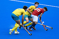 2nd February 2020; Sydney Olympic Park, Sydney, New South Wales, Australia; International FIH Field Hockey, Australia versus Great Britain; James Gall of Great Britain evades a tackle from Tom Craig of Australia