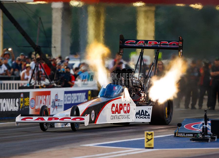 Jun 16, 2017; Bristol, TN, USA; NHRA top fuel driver Steve Torrence during qualifying for the Thunder Valley Nationals at Bristol Dragway. Mandatory Credit: Mark J. Rebilas-USA TODAY Sports