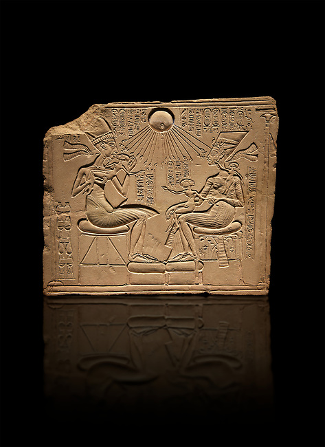 Ancient Egyptian house altar relief sculpture of Akhenaten, Nefrertiti and their three daughters. 18th Dynasty 1345 BC . Neues Museum Berlin AM 14145.
