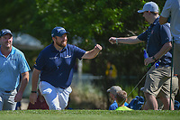 Shane Lowry (IRL) fist bumps a fan as he approaches the tee on 2 during round 3 of the Houston Open, Golf Club of Houston, Houston, Texas. 3/31/2018.<br /> Picture: Golffile | Ken Murray<br /> <br /> <br /> All photo usage must carry mandatory copyright credit (&copy; Golffile | Ken Murray)