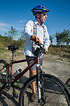 President Felipe Calderon of Mexico with bicycle