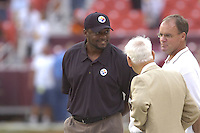 18 August 2007:.Steelers Head Coach Mike Tomlin, Owner Dan Rooney, and Director of Football Operations Kevin Colbert talk before the game.  The Pittsburgh Steelers defeated the Washington Redskins 12-10 in their preseason game at FedEx Field in Landover, MD.